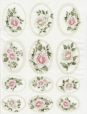 Rice Paper for Decoupage Scrapbook Craft Sheet Pastel Roses in Frames