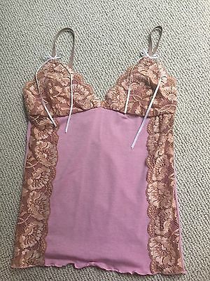 """""""Love Tanjane"""" camisole NWOT pink mauve with tan lace Size M"""