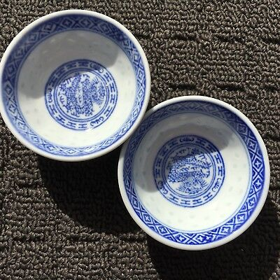 """CHINESE DRAGONS """"Blue & White"""" Set Of 2 Decorative Asian Mini Sauce Dishes"""