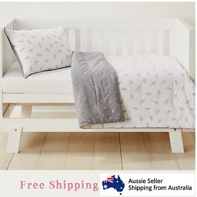 Baby Bedding Cot Set 2 Piece Reversible Comforter Nursery Boys Girls Feathers