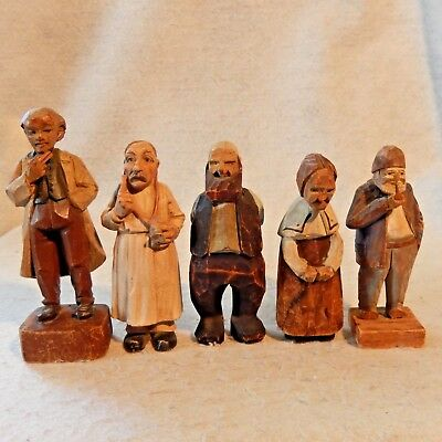 Lot 5 Hand Carved Wood Figures Doctor Fisherman Signed Quebec Woman Antique
