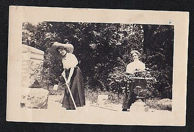 Old Vintage Antique Photograph Two Women Working in Garden - Huge Hat