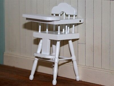 White High Chair Design 2, Doll House Miniatures, Miniature Furniture