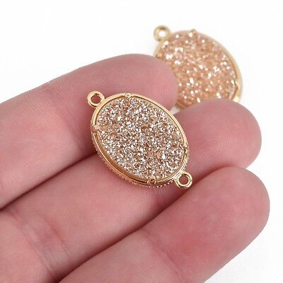 1 Champagne Druzy Oval Charm, GOLD bezel connector link, 27x16mm, chs3882