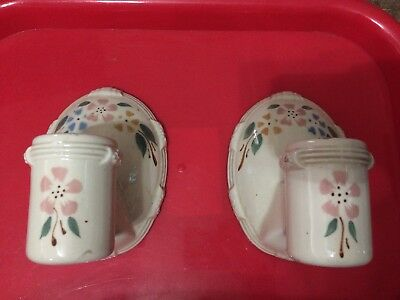 Pair Of Vintage Sconces Porcelain Porcelier Floral Flowers