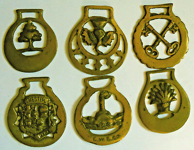 Group of Six Brass Saddle or Harness  Medallions or Ornaments