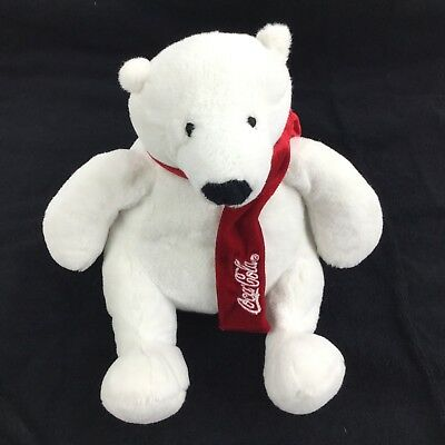 Coca-Cola White Polar Bear Plush Toy Red Stuffed 2011 Coke Teddy 9""