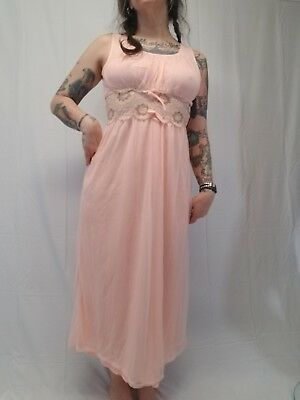 Vtg BERKLIFF Long Peach Chiffon Lace Empire Waist Nightie Womens L 38/40 VLV