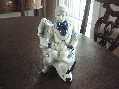Vintage Ceramic / Porcelain White And Blue Male Figurine Sitting In A Chair