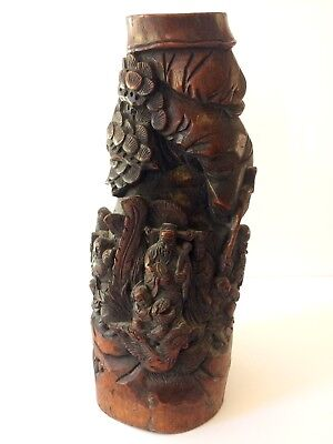 Antique Chinese Bamboo High quality Carving, Figures in The Forest, Huge 16""