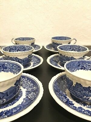 6 tasses et sous tasses VINTAGE staffordshire english scenic Adams England