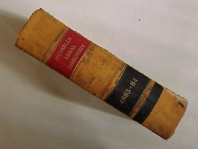Rare Vintage Antique HUBBELL'S LEGAL DIRECTORY 1883 1884 Leather Bound Book Old