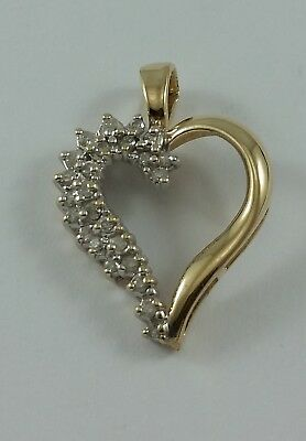 Exquisite 14K Solid Two Tone Multi Tone Gold Heart Charm Pendant With Diamonds