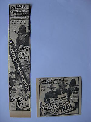 FRONTIERSMEN / SUNSET TRAIL '39 movie advertising William Boyd Hopalong Cassidy