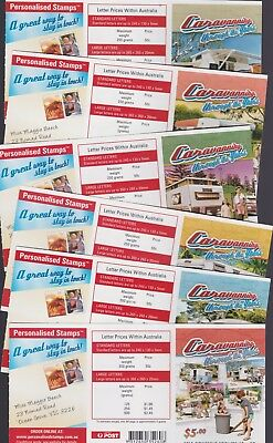 Australia Stamps 2007 Caravanning Booklets Set 6 (incl mixed) UNFOLDED B342-347