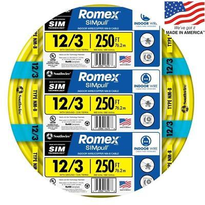 Southwire 63947655 Romex SIMpull 250-Ft 12/3 Non-Metallic Wire (By-The-Roll) NEW