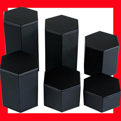 Reliable Set of 6 Column Jewellery Display Risers-Black Leather | AUSSIE Seller