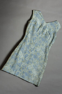 vintage 60s mini dress, muted grey & blue floral lame`, sleeveless