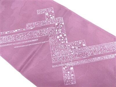 BNWT Japanese Dusky Mauve Silk 'Clouds and Abstract Ribbon' Obiage Scarf for Obi
