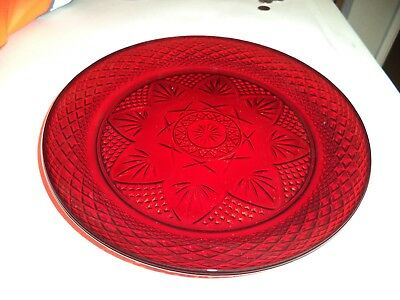 "Vintage Ruby / Cranberry  Red Glass  France 10 1/4"" Dinner Plate"