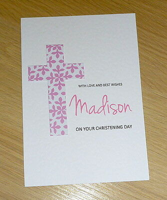 Personalised Christening / Baptism / Naming Day Card - girl or boy - handmade