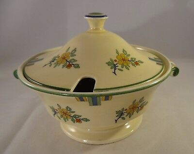 Antique Minton Art Nouveau Lidded Green & Yellow Floral Sauce Tureen c1900 VGC
