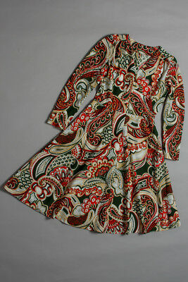 vintage 60s, midi dress, bright coloured paisley pattern, crepe fabric, size 14