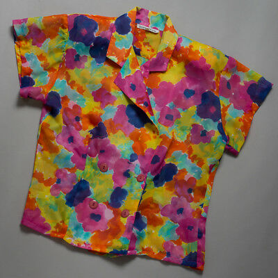 vintage 80s blouse, bright chiffon floral with cross lapel, size 16