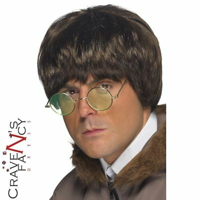 90s Liam Gallagher Wig Oasis Brit Pop Brown Fancy Dress Costume Accessory Noel
