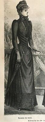 French MODE ILLUSTREE SEWING PATTERN Aug 17,1890 MOURNING DRESS