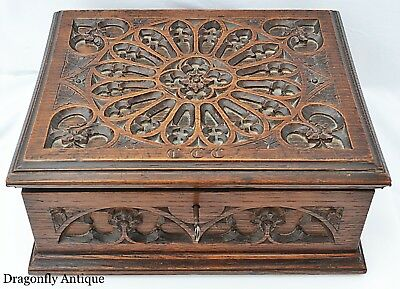 SUPERB Antique 18th C English Oak Bible Box Gothic Tracery Carved