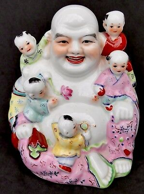 Vtg Mid-Century Chinese Porcelain Figurine Laughing Buddha With 5 Sons Children