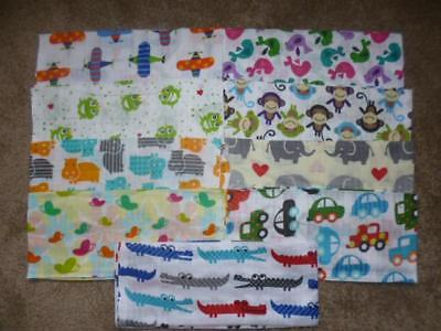 Printed Muslin Squares /Baby Bib /Reusable Nappy/Muslin Cloths 100% Cotton anim