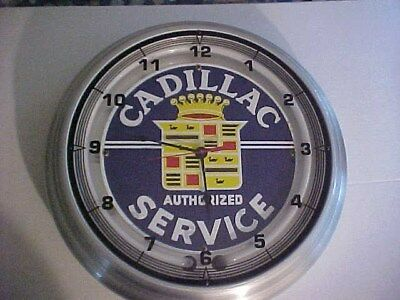 Cadillac Service Neon Wall Clock  Made In The USA 18 Inch Dia. Aluminum case