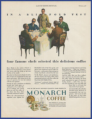 Vintage 1928 MONARCH Coffee Blindfold Test Kitchen Art Decor Print Ad 1920's