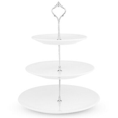 3 Tier White Ceramic Round Display Cake Stand Food Platter Serving Rack Holder
