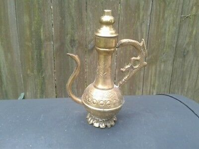 Vintage Brass Oil Pitcher / Teapot / Coffee Pot With Spout