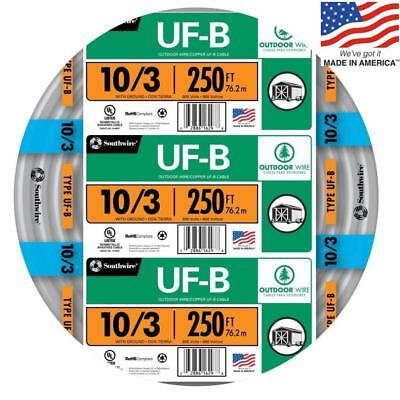 Southwire 13059155 250-Ft 10/3 UF-B Wire (By-The-Roll) NEW Free Shipping