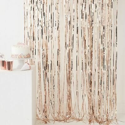 Rose Gold Shiny Fringe Curtain Wall Door Room Decoration Wedding Party