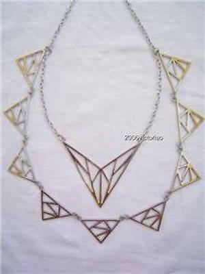New BEBE in Silver Gold Geometric Necklace 221218 Neu Halskette
