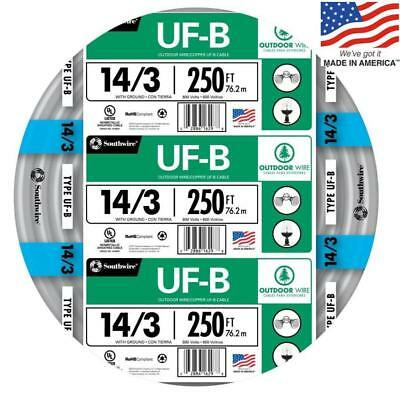 Southwire 13057555 250-Ft 14/3 UF-B Wire (By-The-Roll) NEW Free Shipping