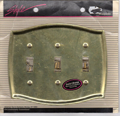 NEW American Tack & Hardware Style Brass Triple Toggle Switch Plate Cover #69TTT