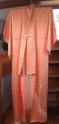 Gorgeous Peach Vintage Japanese Full Length Kimono With Flower Pattern