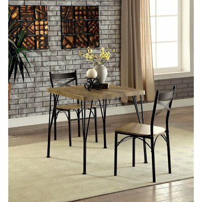 Industrial Bistro Dining Set 3 Piece Table Chairs Dinette Kitchen Rustic