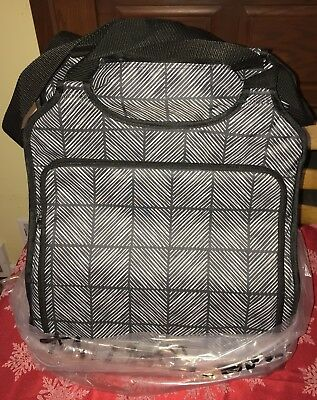 31 Thirty One Gifts Away We Go Roller Travel Bag Chevron Squares NEW Carryon NIP
