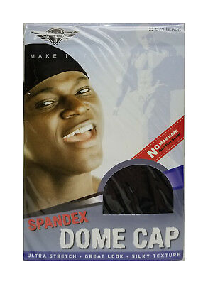 King J | Black | SPANDEX DOME CAP | Ultra Stretch | Great Look | Silky Texture |