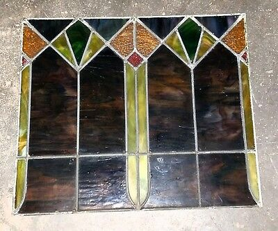 FABULOUS ART DECO STAINED LEADED GLASS WINDOW (1920s) zero cracks or breaks!