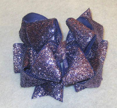 Glitter Hairbows Girls Glitter bows Lavender Purple Stacked Boutique Hair Bows