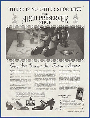 Vintage 1928 ARCH PRESERVER Shoes Women's Fashion Art Decor Print Ad 1920's