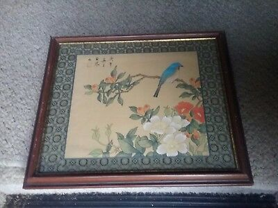 Antique Japanese signed painti g bird and flowers unknown artist Estate sale
